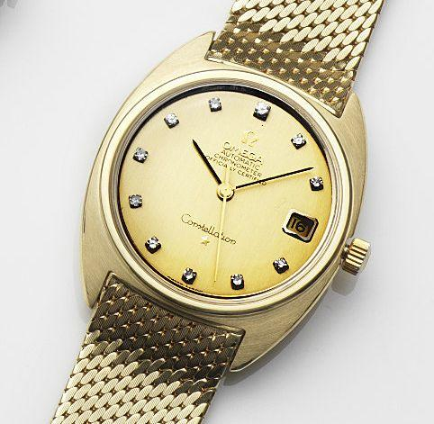 Omega. An 18ct gold and diamond set automatic calendar bracelet watchConstellation, Ref:168.009, Movement No.24504378, London Hallmark for 1967