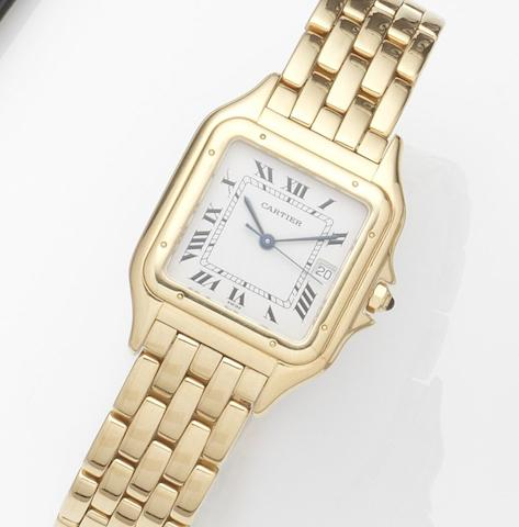 Cartier. An 18ct gold quartz calendar bracelet watchPanthére, Case No.8839687567, Circa 1990