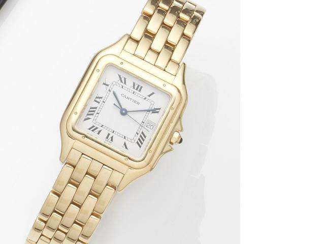 Cartier. An 18ct gold quartz calendar bracelet watch Panthére, Case No.8839687567, Circa 1990