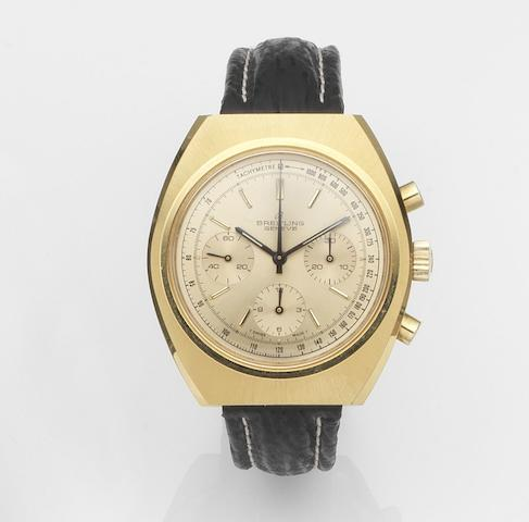 Breitling. A gold plated manual wind chronograph wristwatch Long Playing, Ref:1451, Case No.1 435 763, Circa 1975