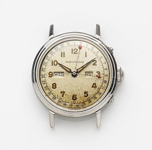 Movado. A stainless steel manual wind triple calendar watch head Ref:6563, Case No.C496563, Circa 1960