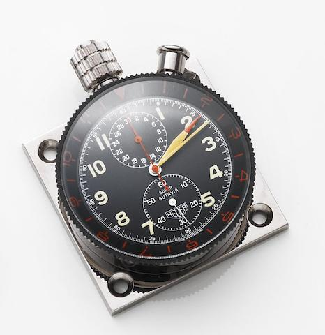 Heuer. A stainless steel manual wind chronograph dashboard timepiece Super Autavia, Case No.71149, Circa 1969