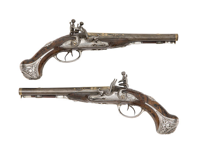A Fine Pair Of French 25-Bore Silver-Mounted D.B. Flintlock Pistols