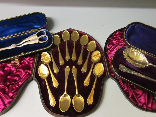 A gold plated set of twelve ice-cream spoons by Elkington and Co.  (3)