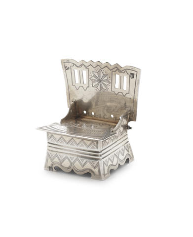 A Russian silver novelty table salt in the form of a traditional chair  late 19th Century, stamped 84