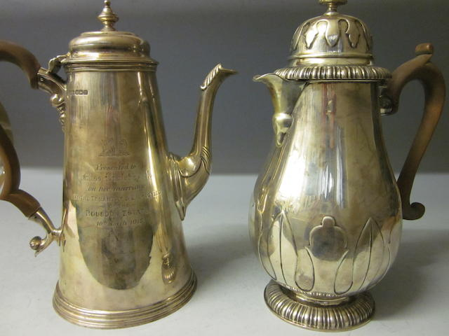 A silver coffee pot, by Henry Stratford Ltd Sheffield 1914,  (2)