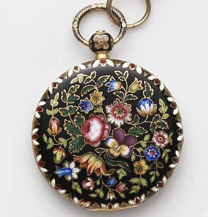 Jean Francois Bautte & Cie, Geneva. A continental gold and enamel key wind open face pocket watchCase and Cuvette No.51525, Circa 1800