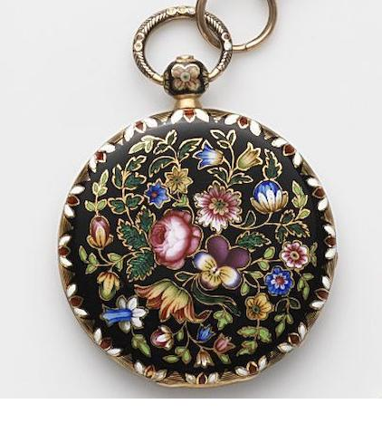 Jean Francois Bautte & Cie, Geneva. A continental gold and enamel key wind open face pocket watch Case and Cuvette No.51525, Circa 1800