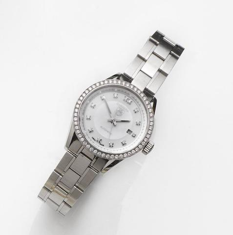 TAG Heuer. A lady's stainless steel and diamond set automatic calendar bracelet watch Carrera, Ref:WV2413, Case No.ERZ3104, Sold 18th June 2010