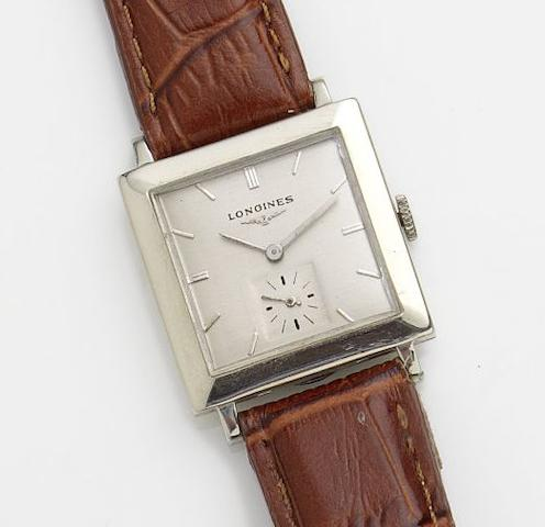 Longines. A 14ct white gold manual wind wristwatchCase No.307842, Movement No.8917962, Circa 1952