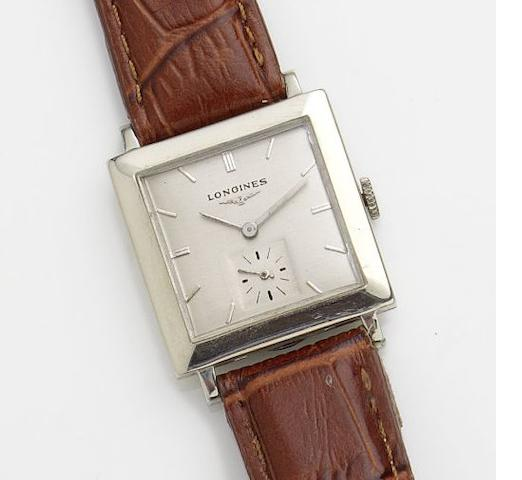 Longines. A 14ct white gold manual wind wristwatch Case No.307842, Movement No.8917962, Circa 1952