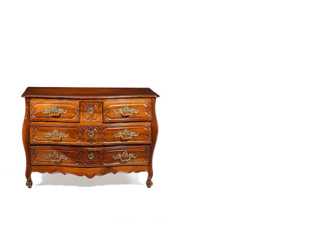 A French 18th century Louis XV Provincial mahogany serpentine bombé commode possibly Bordeaux