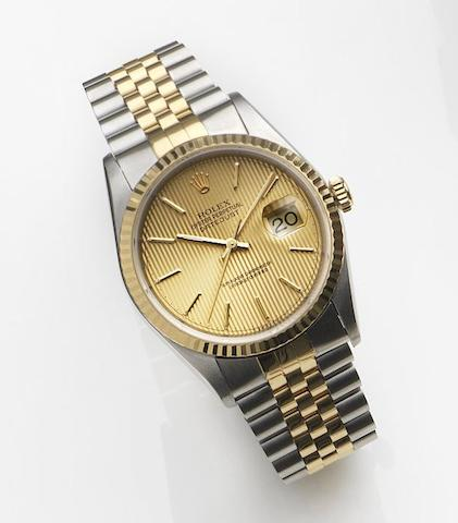 Rolex. A stainless steel and gold automatic calendar bracelet watch with box and papersDatejust, Ref:16233, Case No.T228163, Movement No.7489596, Sold 10th August 1997