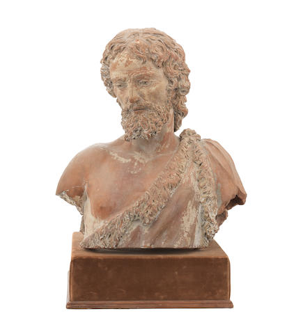 A 16th century Italian terracotta bust of John the Baptist in the manner of Antonio Begarelli, Italian (died 1556)