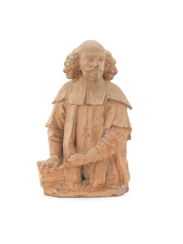 A 17th century Flemish or Italian three-quarter size terracotta figure of a senior prelate