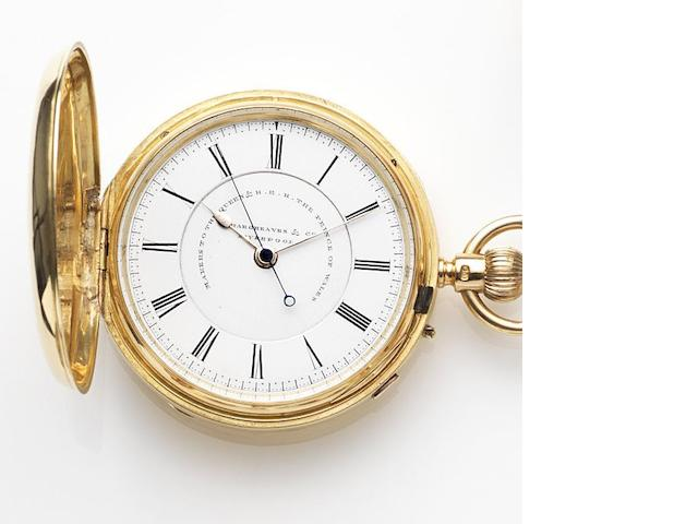 John Hargreaves & Company, Liverpool. An 18ct gold keyless wind full hunter pocket watch Case and Movement No.51972, Chester Hallmark for 1890