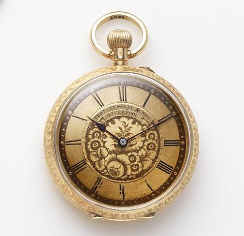 Thomas Russell & Son, Liverpool. An 18ct gold keyless wind open face pocket watchCase No.82157, Circa 1890