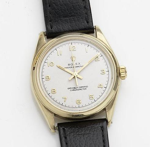 Rolex. A 9ct gold automatic wristwatchOyster Perpetual, Ref:6564, Case No.325656, Movement No.N771159, Circa 1945