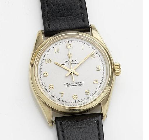 Rolex. A 9ct gold automatic wristwatch Oyster Perpetual, Ref:6564, Case No.325656, Movement No.N771159, Circa 1945