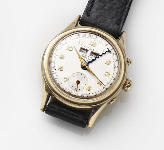 Heuer. A gold plated automatic calendar wristwatch Case No.1723, Circa 1950
