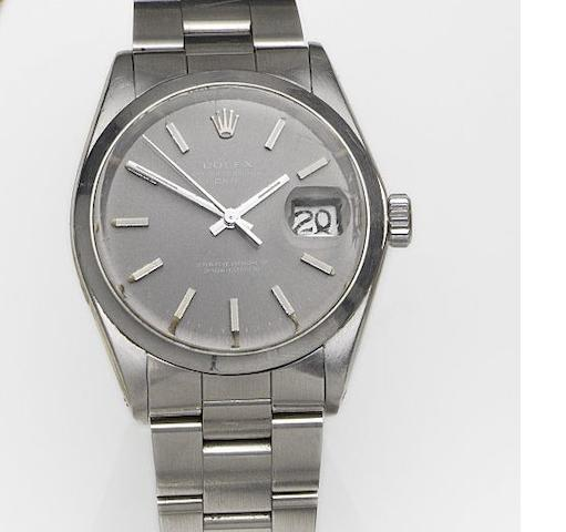 Rolex. A stainless steel automatic calendar bracelet watch Date, Ref:1500, Case No.2360845, Movement No.D554340, Circa 1969