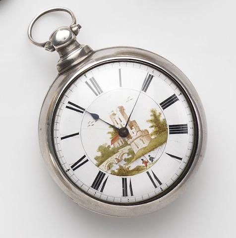 William Mayo, Manchester. A silver key wind open face pair case pocket watch with painted dialMovement No.28664, Birmingham Hallmark for 1840
