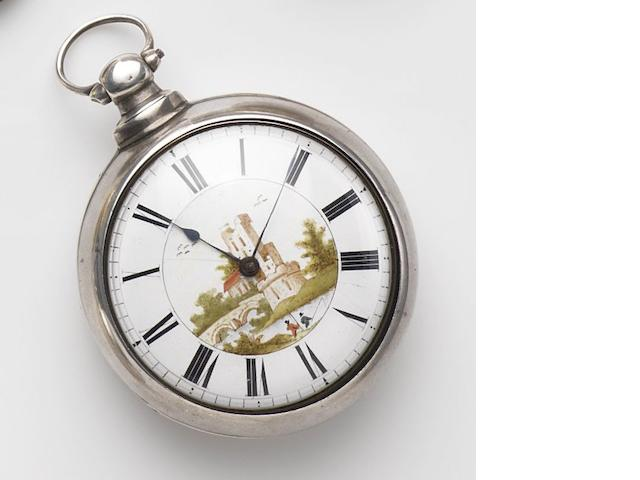 William Mayo, Manchester. A silver key wind open face pair case pocket watch with painted dial Movement No.28664, Birmingham Hallmark for 1840