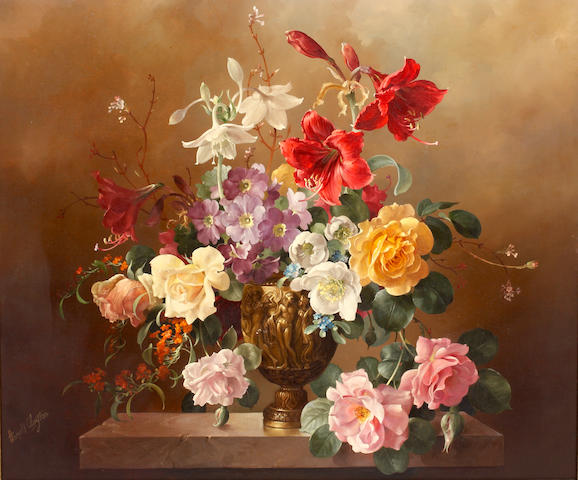 Harold Clayton Roses and Summer Flowers 53 x 82cm