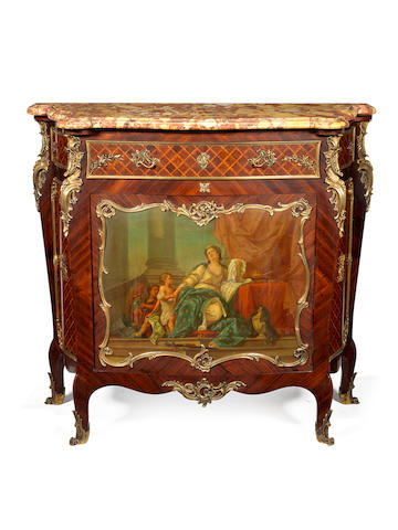 A French late 19th century ormolu-mounted kingwood, satiné, vernis Martin and parquetry meuble à hauteur d'appuiby Victor Raulin, Paris