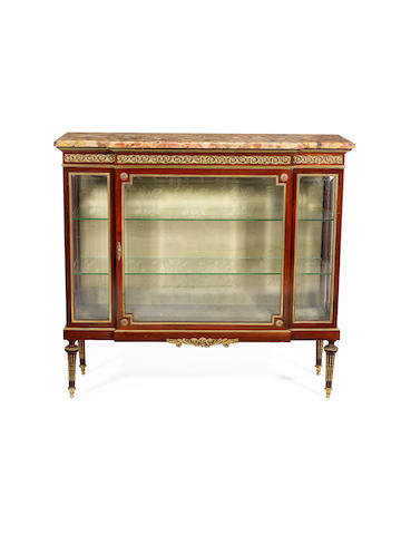A late 19th century Louis XVI style ormolu-mounted mahogany vitrine