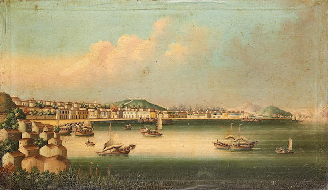 Circle of Youqua (Chinese, active circa 1840-1870) Macao, from the south looking north