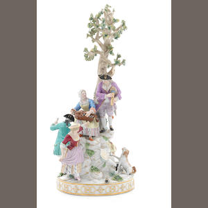 A large Meissen figural group of the Seasons, 19thC (losses, one figure missing)