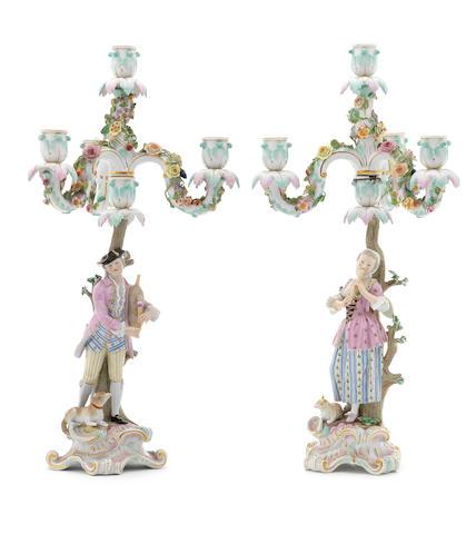 A pair of Meissen figural candelabra, circa 1870