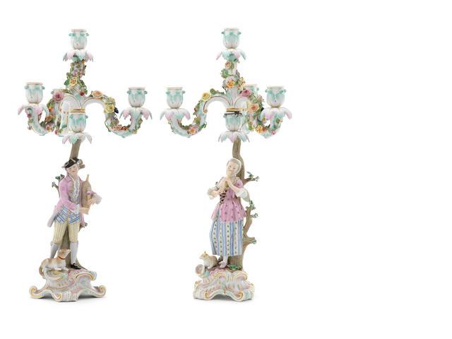 A pair of Meissen figural candelabra, 19thC,