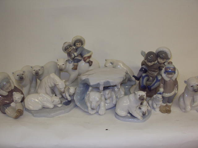 A collection of Lladro polar bear and Eskimo figures