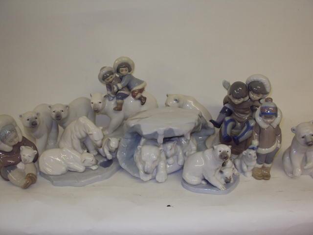A collection of Lladro polar bear and Eskimo figures