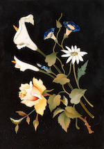 Two Florentine late 19th/ early 20th century framed pietre dure and black marble panels depicting sprigs of flowers
