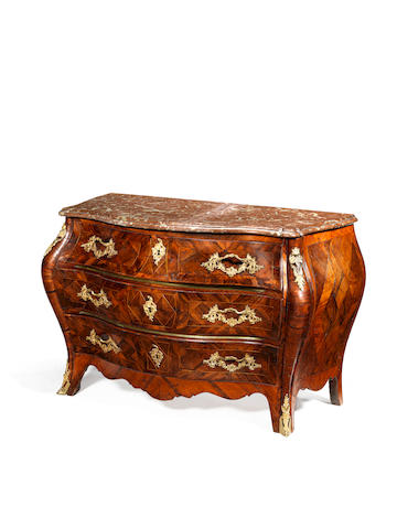 A Swedish 18th century ormolu and brass-mounted fruitwood, walnut and parquetry commode