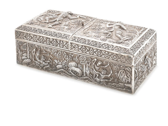A late 19th/ early 20th century Burmese silver duel-opening  cigar box apparently unmarked