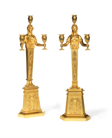 A pair of 19th century gilt-bronze three-light figural candelabraprobably circa 1830