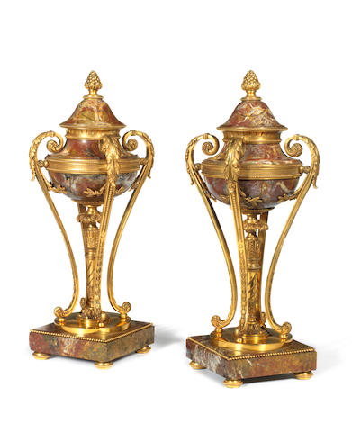 A pair of Italian late 19th century gilt bronze and Sarrancolin cassolettes