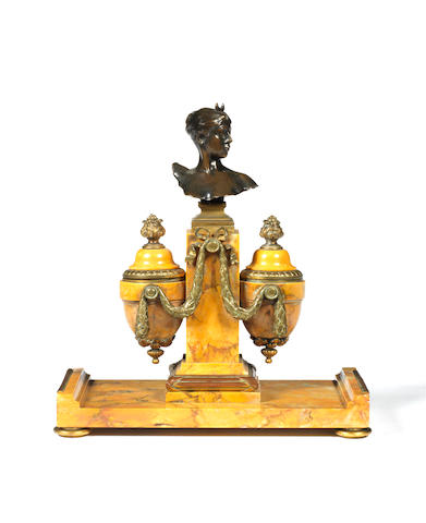 A Sienna marble and gilt-bronze mounted inkwell by Falguiere