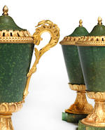 A set of three ormolu-mounted green porphyry brules parfum