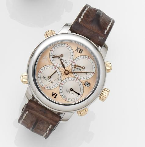 Jacob & Co. A stainless steel automatic 5-time zone calendar wristwatchH24, Case No.0009/1800, Circa 2010