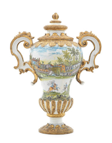 A large and impressive Faenza vase and cover Circa 1720
