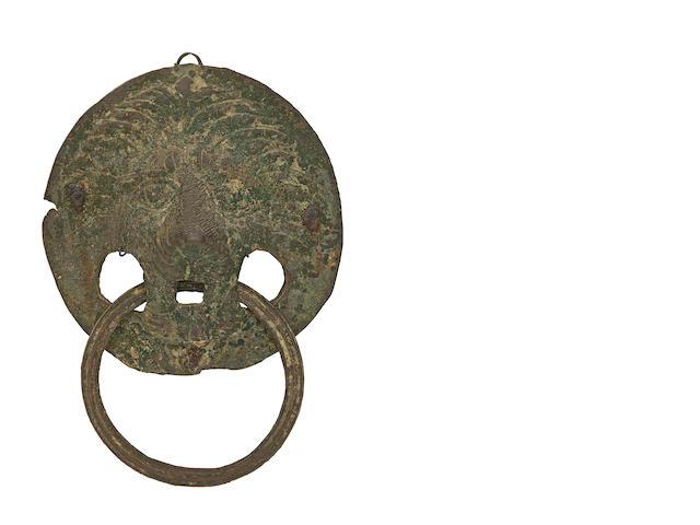 A Roman Bronze Coffer Handle