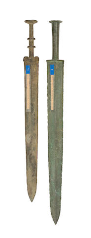 Two Chinese Bronze Short Swords (Jian)