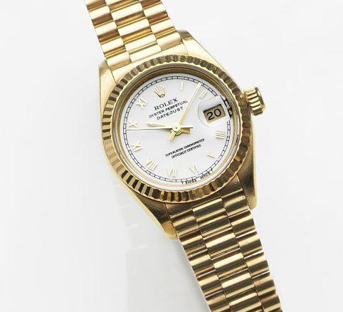 Rolex. A lady's 18ct gold automatic calendar bracelet watch Datejust, Ref:69178, Case No.S36****, Movement No.231****, Circa 1993