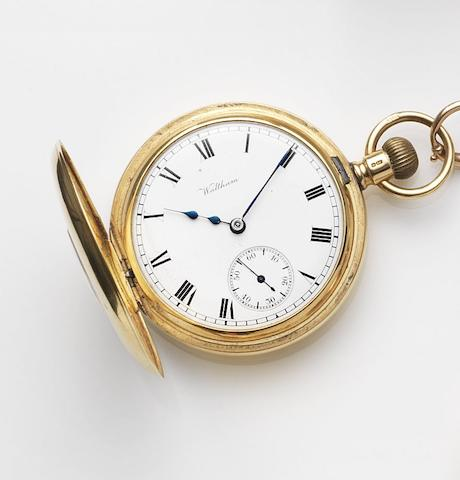 Waltham. An 18ct gold keyless wind half hunter pocket watch together with an 18ct gold chainCase No.9477, Movement No.17134681, Circa 1900