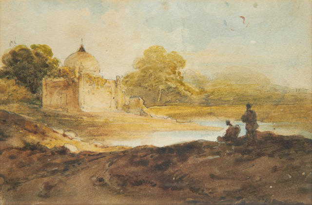 George Chinnery RHA (British, 1774-1852) Figures before an Indian temple